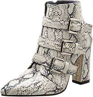 Fashion Womens Martin,Women Autumn Snow Winter Casual Comfortable Vintage Breathable Warm Waterproof Ankle Snakeskin Pattern Toe Zip Belt Buckle Thick Pointed (Color : White, Size : 5 UK)