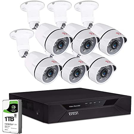 Tonton 1080P Surveillance Camera System Outdoor,H.265+ 8CH 5MP Lite Hybrid DVR with 1TB HDD and 6PCS 2MP Bullet Security Camera,100ft Night Vision,Free App Remote Access