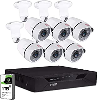 [Upgraded] Tonton Home Security Camera System Outdoor,8CH Full HD 1080P Surveillance Video DVR with 1TB HDD and 6PCS 2MP 1920TVL Waterproof CCTV Bullet Camera,Easy Remote View,Free App&Email Alerts