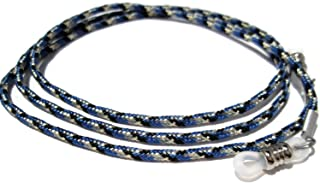 ATLanyards Blue with Black and Gray Eyeglass Cord, Paracord Eyeglass Holder, Clear Grips 323
