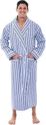 Alexander Del Rossa Mens Solid Cotton Robe, Lightweight Woven Bathrobe