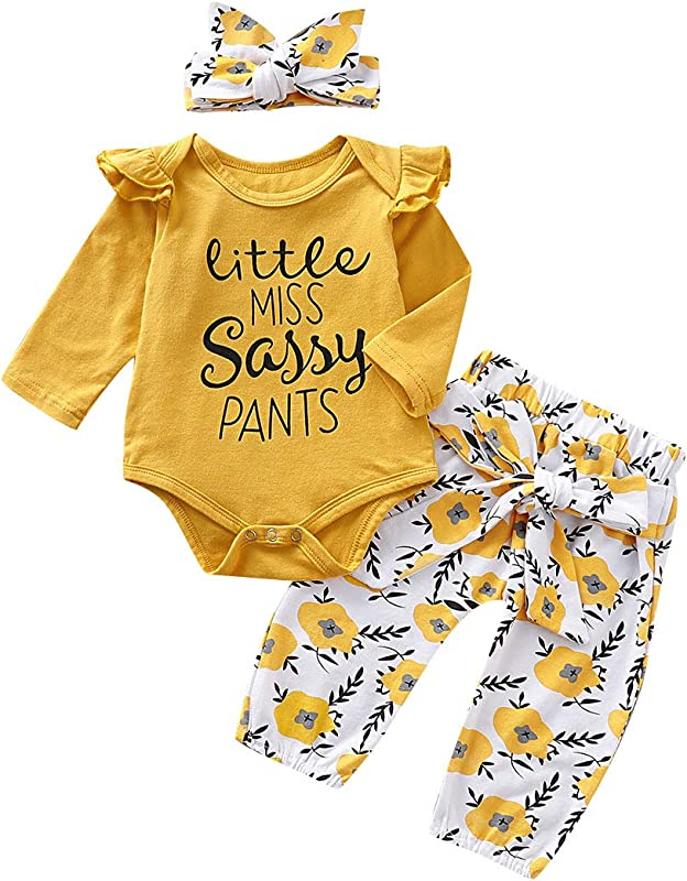 Baby Girl Outfit Sets Ruffle Romper Long Sleeve Bodysuit Bowknot Floral Pants With Headband 3Pcs Infant Girl Clothes
