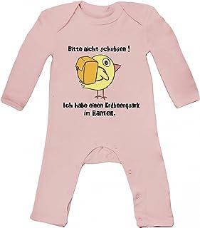 ShirtStreet Baby Strampler Langarm Schlafanzug Jungen Mädchen Küken - Bitte nicht schubsen