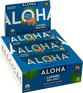 ALOHA Organic Plant Based Protein Bars |Caramel Sea Salt | 12 Count, 1.9oz Bars | Vegan, Low Sugar, Gluten Free, Paleo, Lo...