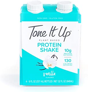 Tone It Up Ready to Drink Vegan Vanilla Protein Shake | 10g Pea Protein | Organic Plant Based Non GMO | Lean Muscle Nutrition | Great for Meal Replacement and Clean, Energizing Snack