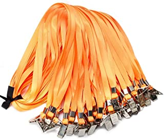50cordons plats en nylon avec attaches clip, 80cm, pour cartes d'identification ou badges 50 Orange