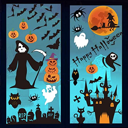30x20 Halloween Decor Hello Autumn Clear Window Cling CGSignLab 5-Pack