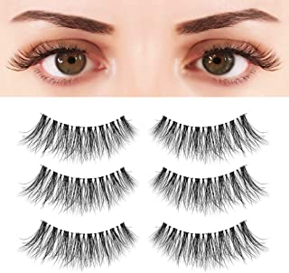 BEPHOLAN 3 Pairs Multi-layered Faux Mink Lashes| Fluffy Volume Lashes| Natural Look| 3D Layered Effect| Reusable| 100% Handmade & Cruelty-Free| Easy to Apply| XMZ90