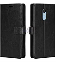 Xester® Vintage Leather Flip Cover Case Compatible with REDMI Note 5 | Inner TPU | Foldable Stand | Magnetic Closure | Wallet Card Slots - Black