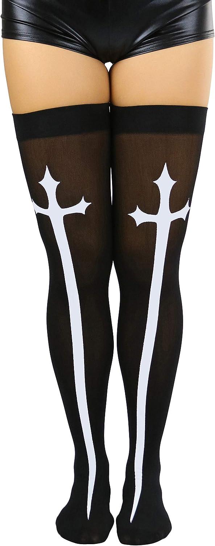 ToBeInStyleWomen's Gothic Cross Opaque Thigh Hi