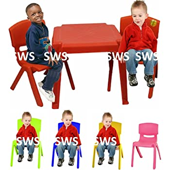 Red TOYO Childrens Kids Plastic Garden Outdoor Or Indoor Table and 2 Chairs Set For Boys Or Girls Pink Blue Yellow Green Red