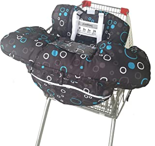 Shopping Cart Cover for Baby- 2-in-1 - Foldable Portable Seat with Bag for Infant to Toddler - Compatible with Grocery Cart Seat and High Chair - Includes Free Carry Bag (Black Circle)