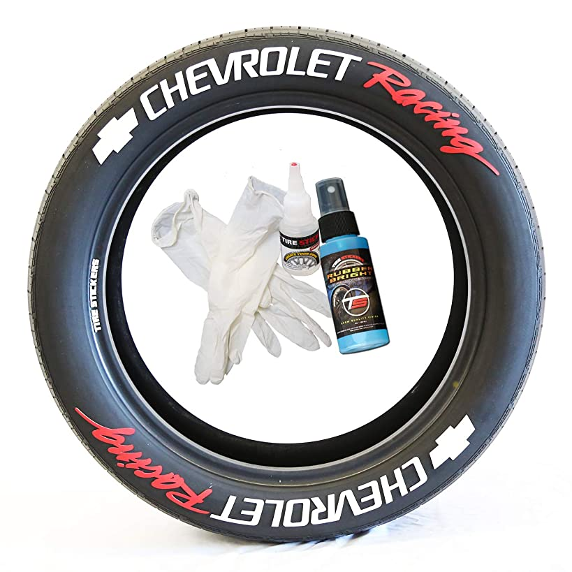 Tire Stickers Chevrolet Racing - DIY Permanent Rubber Tire Lettering Kit with Glue & 2oz Bottle Touch-Up Cleaner / 17-18 Inch Wheels / 1.50 Inches/White/Red / 8 Pack