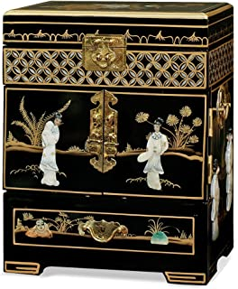 China Furniture Online Black Lacquer Jewelry Box, Hand Painted Scenery Landscape with Maidens Motif Mother Pearl Inlay Chest Black