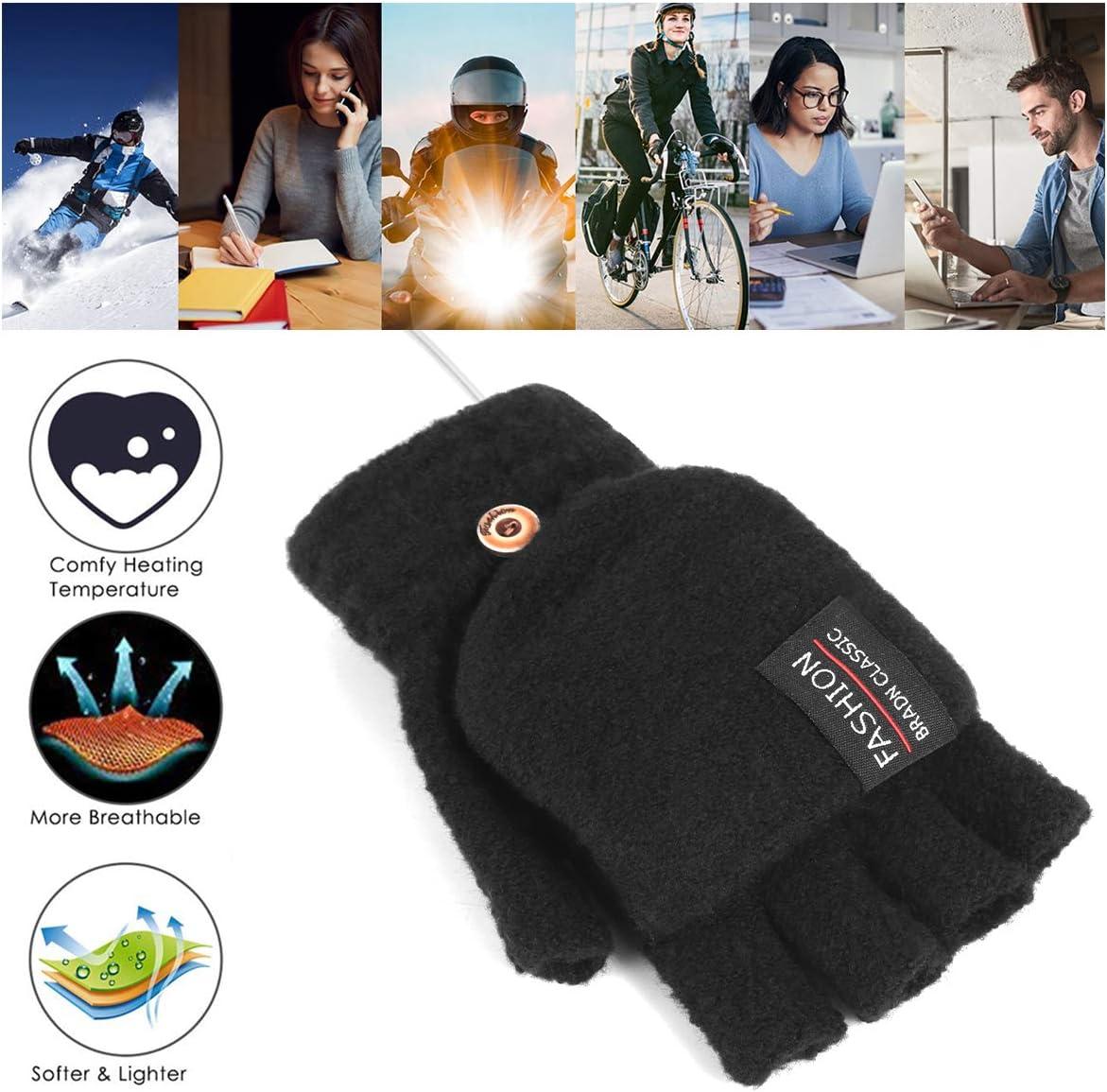guantes de invierno c/álidos con dedos completos y medio para port/átil para interiores o exteriores Rehomy Guantes calentados por USB para mujeres y hombres