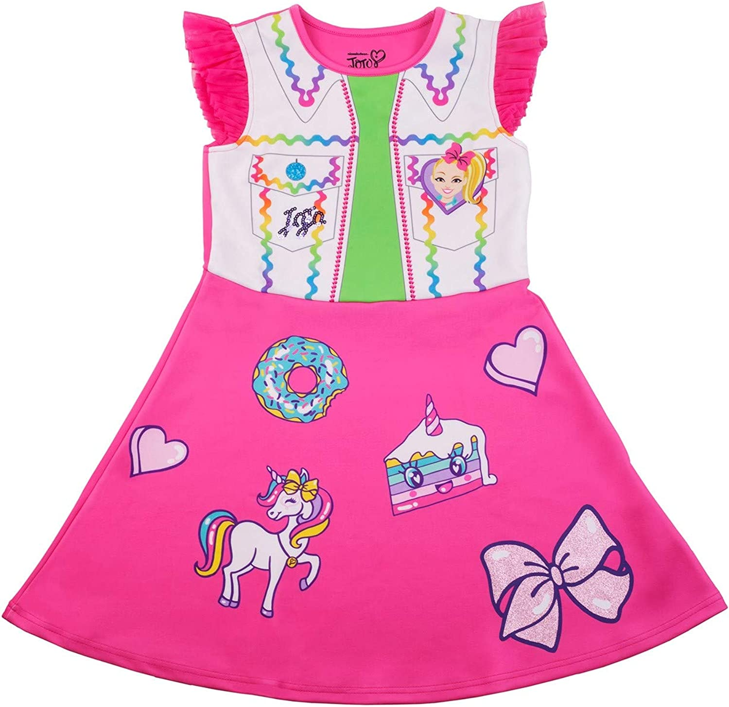 Nickelodeon Girls JoJo Siwa & Bow Bow Multicolored Knit Dress with Removable Purse