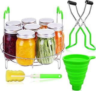Canning Rack Kit, 4Pcs Canning Kit Include Stainless Steel Canning Rack, Canning Jar Lifter Tongs, Food Grade Silicone Fun...