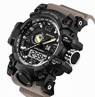 Men's Digital Watch Large Face LED Wrist Watches Military Sports Digital Analog Dual Time Outdoor Army Wristwatch Tactical