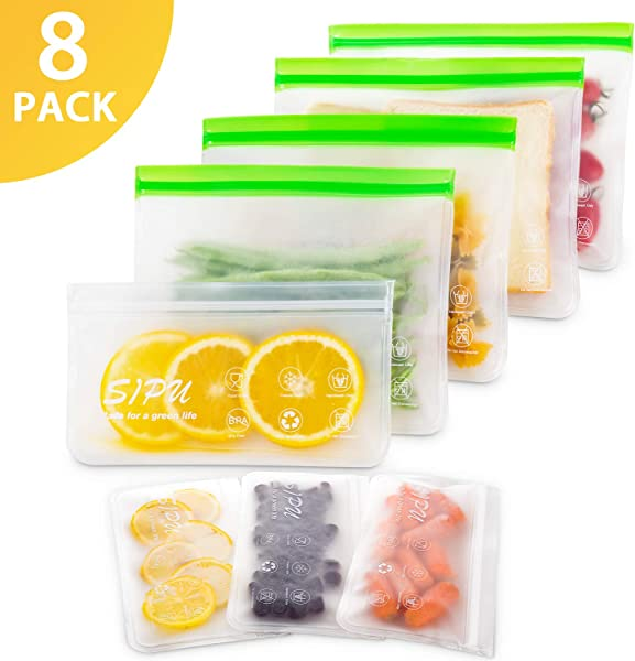 DUAL Leakproof Reusable Sandwich Bags 8 Pack Transparent Reusable Snack Bags Extra Thick Food Storage Bags FDA Grade Lunch Bags Kids Snacks Fruit Travel Storage BPA Free Freezer Safe