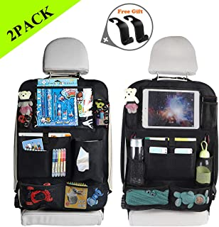 OKBONN Car Backseat Organizer 2 Pack 10 Storage Pockets Kick Mats with 10'' Touch Screen Tablet Holder Seat Back Protector Vehicles Travel Accessories for Kids Toy Tissue Box