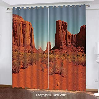 "Best Home Fashion Blackout Curtains Sunny Hot Day Monument Valley Arid Country Primitive Nation Arizona USA Window Treatment Pair for Bedroom(55""X45"")"