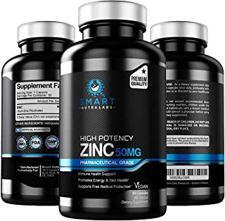 High Potency Zinc Picolinate 50MG- 2 Pack- Pharmaceutical Grade Vegan Zinc Supplement for Immune Support, Free Radical Pro...