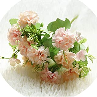 winkstores 9 Heads Hydrangea Artificial Flowers Ball Bunch Fake Flowers Silk DIY Home Decor Faux Flowers,Pink