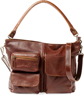 LECONI Schultertasche Ledertasche für Damen Vintage-Look echtes Leder Natur großer Shopper Lederhandtasche für DIN A4 Damentasche Frauen Handtasche 39x27x10cm LE0062