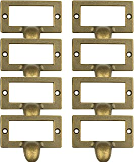 Welldoit 8 Piece Antique Cabinet Drawer Label Pull Frame Handle File Name Card Holder Handle,Bronze (58x46x15mm/2.28