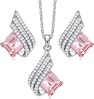 Elf Pendant Necklace and Earrings Set Embellished with Crystals S925 Sterling Silver Necklace Set...