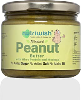 Nutriwish Peanut Butter with Whey Protein and Moringa Bottle, 250 g - Unsweetened, No Added Oil, No Added Sugar, No Added ...