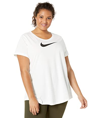Nike Dry Swoosh Tee (Sizes 1X-3X) (White/White/Heather/Black) Women