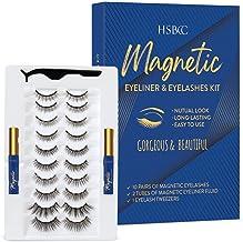 HSBCC Updated 10 pairs Magnetic Eyelashes With Double Magnetic Eyeliner Kit