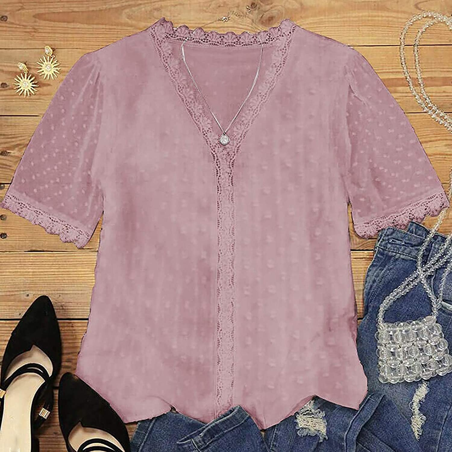 Aniwood Tops for Women Casual Summer,Women's V Neck Lace Crochet Tunic Tank Tops Flowy Casual Sleeveless Blouses Shirts
