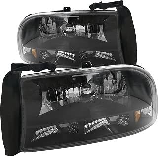 AJP Distributors 1 Piece Headlights Lamps Bumper Corner Lights For Dodge Dakota Durango 1997 1998 1999 2000 2001 2002 2003 2004 97 98 99 00 01 02 03 04 (Black Housing Clear Lens Amber Reflector)