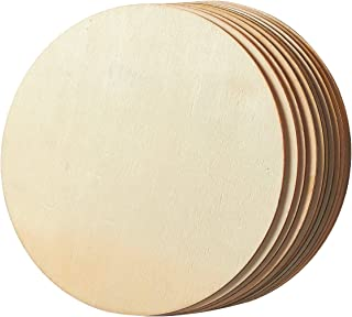 Unfinished Wood Circle - 10-Pack Round Natural Rustic Wooden Cutout for Home Decoration, DIY Craft Supplies, 8-inch Diameter, 0.1 inch Thick