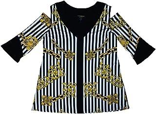 31e526469a7 Eva Varro Peek-A-Boo Shoulders Striped Tunic (Black/White/Gold