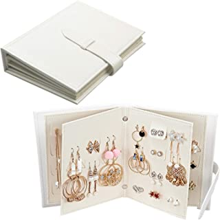 Fangoo Earring Organizer Book Design Earring Holder Travel Jewelry Storage Case Tray Holder, Capable to Hold 42 Pairs (White)
