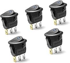 5 X Blaue LED On//Off Schwarz Rund Schaltwippe Schalter Auto 20mm Spst Boot