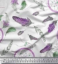 Soimoi Purple Cotton Jersey Fabric Feather & Dream Catcher Home Decor Printed Fabric 1 Yard 58 Inch Wide