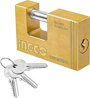 INGCO Rectangular Padlocks Heavy Duty Brass Block Padlock Shutter Padlock with 3 pcs Brass Keys (70mm)
