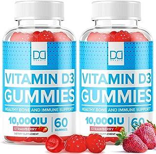 (10,000 IU) Vitamin D3 Gummies 250mcg with Zinc Echinacea Vit D Chewable Supplements for Adults Kids - Pure Vegan Chews Im...