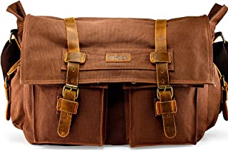 "GEARONIC 14"" 15"" 17"" Men's Messenger Bag Laptop Satchel Vintage Shoulder Military Crossbody (17 inch, Coffee)"