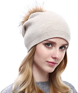 Winter Wool Strechy Beanie Trendy Oversized Caps with Natural Fur Pom-pom 343792834aa4
