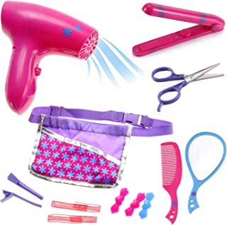 Liberty Imports Beauty Hair Stylist Set - Boutique Beauty Salon Fashion Pretend Play Set for Girls with Toy Blow Dryer, Curler, Scissors, Comb, Mirror & Other Styling Tools