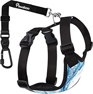 PAWABOO Dog Safety Vest Harness, Pet Car Harness Vehicle Seat Belt with Adjustable Strap and Carabiner, Easy Control for D...