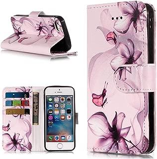 iPhone SE/iPhone 5 / iPhone 5s PUレザー 手帳型 ケース カバー Zeebox® 高級感 人気 バタフライ花柄付き 落下防止 衝撃吸収 ウォレット型 カバー スタンド機能 カード収納 マグネット開閉式 iPhone SE/iPhone 5 / iPhone 5s 用, 紫の