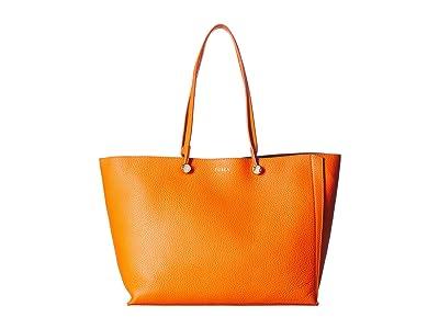 Furla Eden Medium Tote East/West (Mandarino/Onyx/Petalo) Handbags