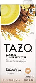 Tazo Tea Concentrate Golden Turmeric Latte 32 oz, Pack of 6