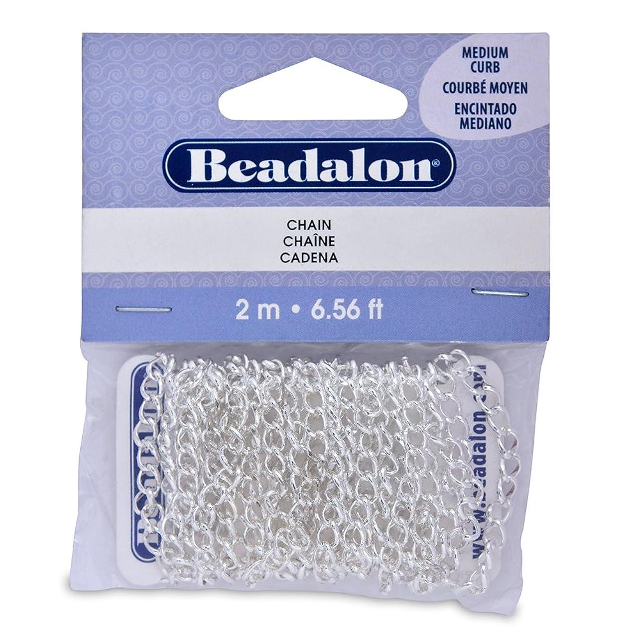 Artistic Wire Beadalon Chain 4.1-Inch Medium Curb Silver Plated, 2-Meters